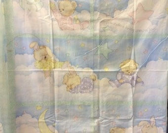 Teddy Bears and bunnies pj friends cotton fabric panel