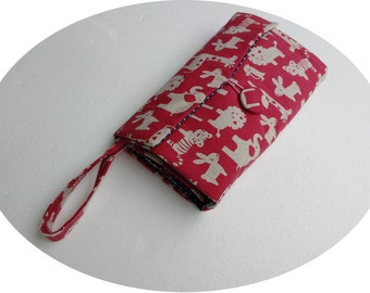 Nappy Wallet with waterproof Change Mat - three or two pockets-Red with white animals