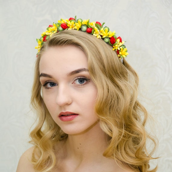 Bright colorful flower crown for girls/ yellow lily/ red tulips/ Ukrainian vinok/ flowergirl accessory