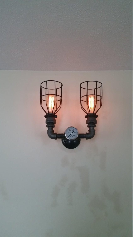 Vanity Lights Etsy : Double Sconce Wall Light Steampunk Light Vanity Light