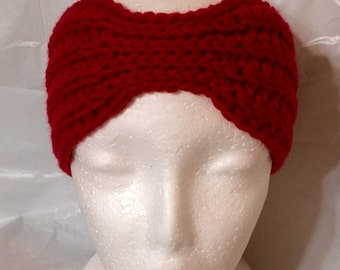 Crocheted Headwrap, Crochet Earwarmer, Crochet Headband Red