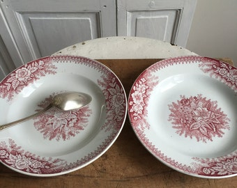Set of 2 vintage French soup bowls / plates
