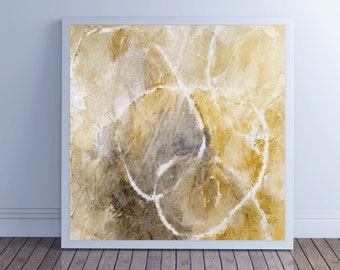 """Large Abstract Painting, Canvas Art, Abstract Art, Fine Art Print, Wall Art, yellow gray neutral, """"Glyph 1d"""""""