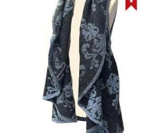 SUPER SALE 60% Off - IRIS Reversible Floral Women's Wool Poncho