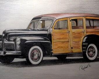 Woody Station Wagon Car Original Colored Pencil Art