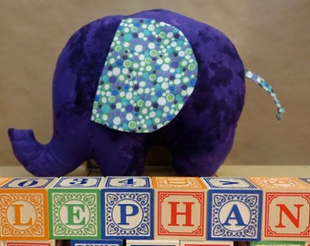 Stuffed Elephant Toy in Purple