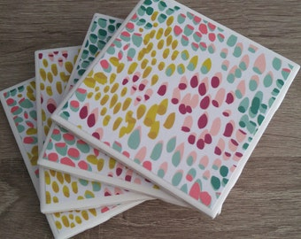 Ceramic tile coaster set colourful