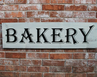 Bakery Sign, Bakery Handmade Wooden Sign, Fixer Upper Bakery Sign, Horizontal Bakery Sign, 12X42 Wooden Sign, Bakery Sign, Kitchen Wood Sign