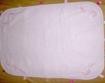 Embroidered Baby Girl Taggie Style Baby Blanket