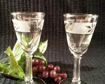 Vintage Stemmed Shot Glasses -  Frosted - Silver Leaves