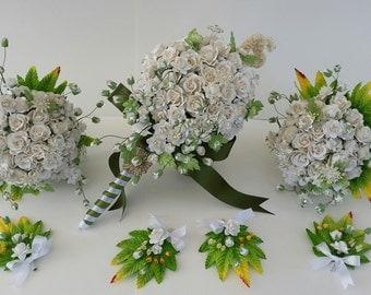 Bridal bouquet ,wedding bouquet, bridesmaid, flower girl bouquet rustic bouquet