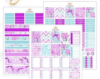 Purple Flowers Weekly Sticker Kit For Erin Condren Life Planner {INSTANT DOWNLOAD}