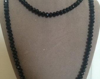 Black crystal double/single wrap beaded necklace