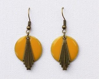 Yellow earrings, inspired art deco, 20s