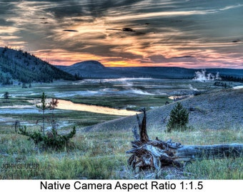 After Sunset at Midway Geyser Basin: Landscape art photography prints for home or office wall decor.