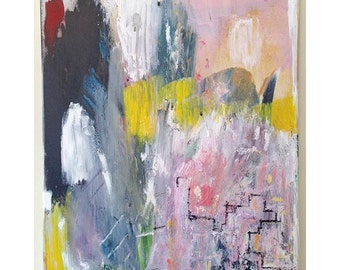Beautiful pink, yellow, blue abstract painting
