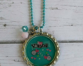Girls Sports Jewelry// Bottlecap Necklace// Volleyball Jewelry// Volleyball Gift// Volleyball Party Favor