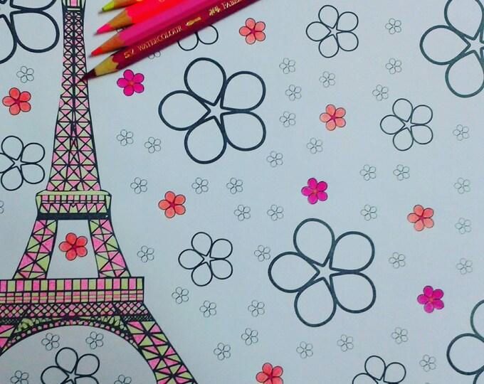 paris coloring page, eiffel tower colouring, eiffel tower print, eiffel tower drawing, tour eiffel dessin, paris printable, print paris