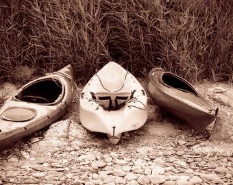 kayaks on a beach photograph, cornwall,