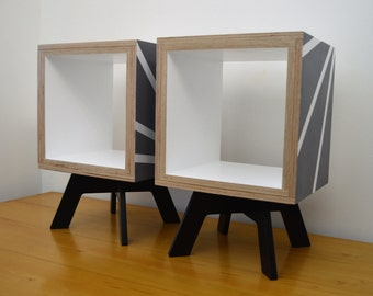 SIDE TABLE SET, Pair of Small Geometric Nightstands, Scandinavian Furniture, Small Storage Units, Mid Century Tables