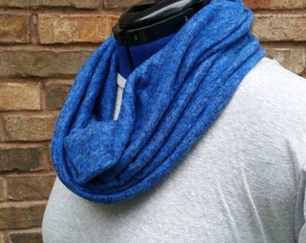 Infinity scarf - Blue hacci sweater scarf - eternity scarf - blue infinity scarf - blue scarf - hacci sweater scarf - sweater knit scarf