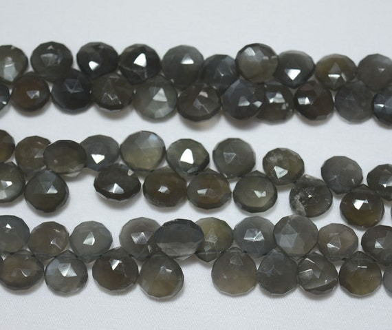 Half Strand Black Moonstone Heart Beads, Faceted Beads ...
