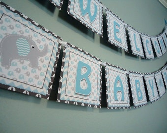 Elephant Banner - Baby Shower Banner - Blue Elephant Welcome Baby Boy - Blue and Grey Chevron - Elephant Banner for Baby Shower