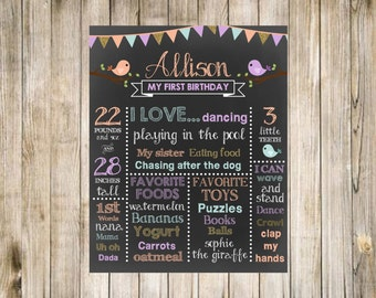 Spring Birds Pastel Chalkboard Birthday Printable Digital First Poster Sign 1st Favorites Likes Loves Stats Words Teeth Toys Food Height