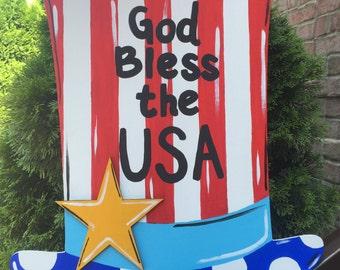 Patriotic door hanger. USA 4th of July America