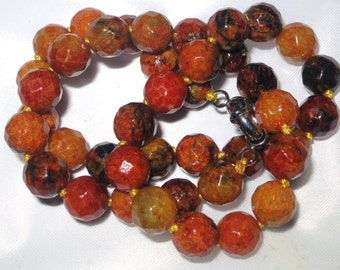"""Lovely 10mm faceted yellow azurite stone necklace  18"""""""