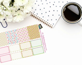 Planner Stickers|Floral Owl Stickers|Full Box Stickers|Owl Planner Stickers|Floral Planner Stickers|For use in a variety of planners| B016-V