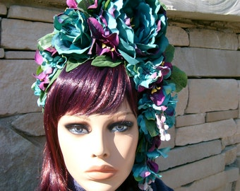 I Love the Flower Girl! Headband Headdress Teal Purple Flower Peonies Party Holiday Wedding Beautiful Bridal Easter Spring