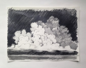Simple Neutral Grey Graphite Storm Sky Cloud Landscape Drawing 9x12in