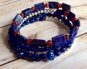 Coral,Cobalt Blue, Freshwater Pearl, and Silver Beaded Wrap Bracelet