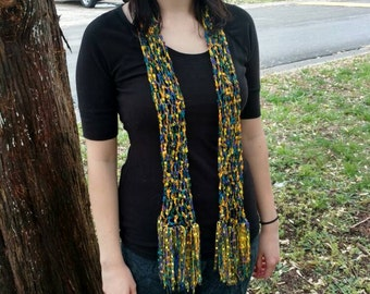 Summer Scarf. Crochet Summer Scarf. Yellow, green, blue, and purple