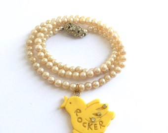 """Yellow """"Rocker"""" Chick Faux Pearl Upcycled Necklace"""