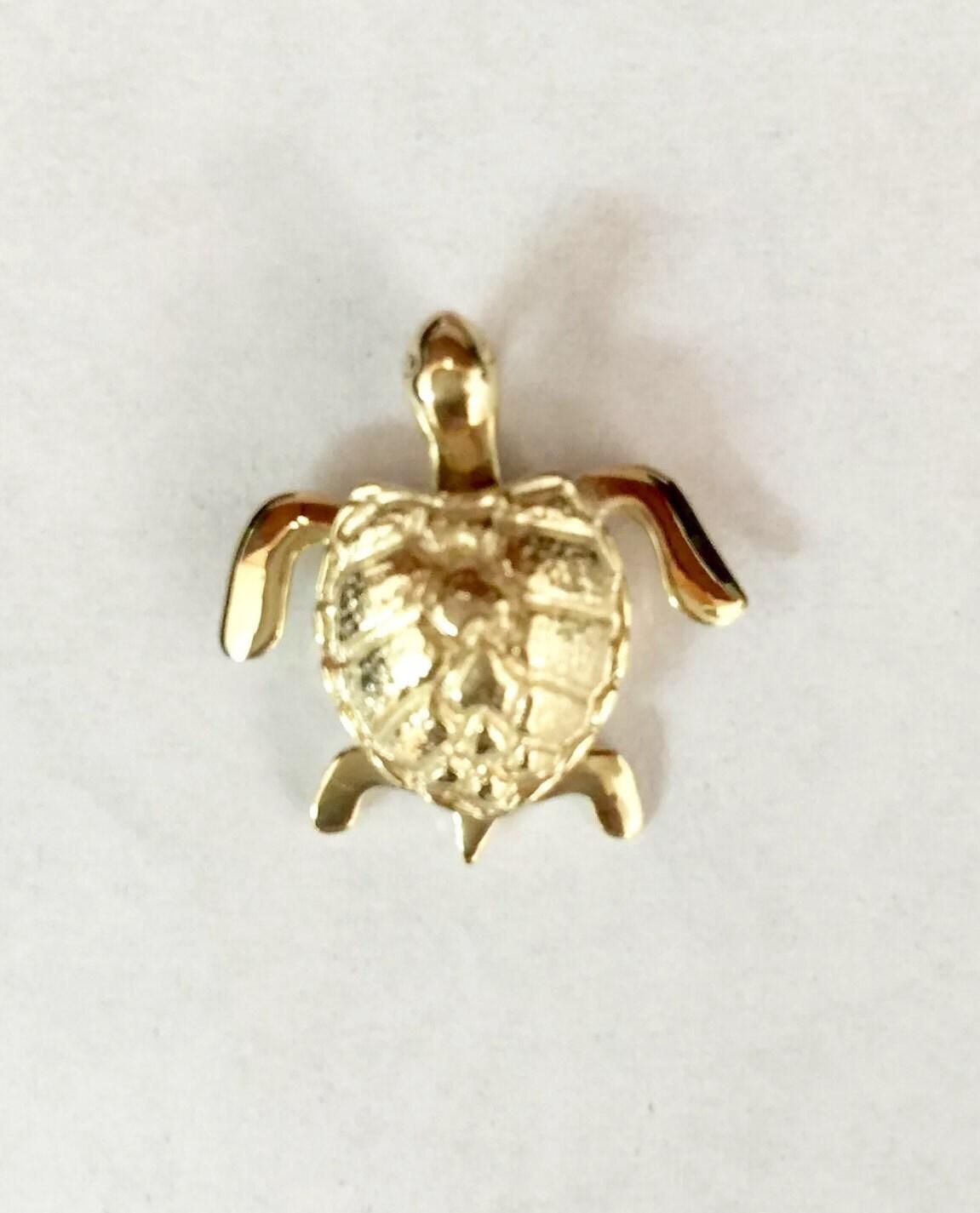 14k yellow gold hawaiian honu sea turtle pendant