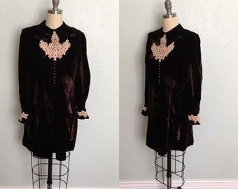 1960's chocolate brown velvet minidress / 1960's vintage dress / 1960's minidress