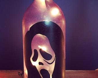 Scary Halloween Mask wine bottle light