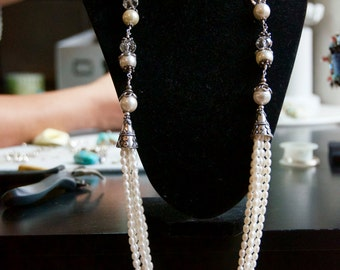 Fresh water pearls with Bali Silver filled with Swarovski crystals