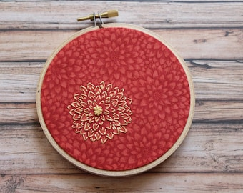 Vermilion Dahlia embroidered hoop