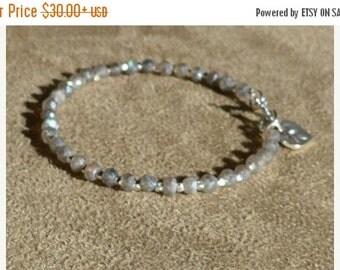 Labradorite Bracelet, Labradorite Silver, Gemstone Bracelet, Black Bracelet, Labradorite Anklet, Contemporary
