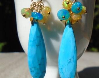 Opal Earrings, Turquoise Earrings, Ethiopian Opal Earrings, Blue Turquoise Earrings, Cluster earrings, Dangling Earrings, Genuine Turquoise