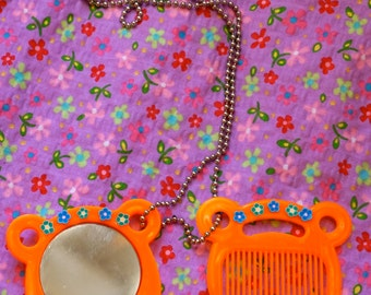 Vintage 90s Cute Makeup Kitschy Novelty Neon Orange Compact and Comb Upcycled Ball Chain Necklace. Cute Unique Kitschy Vintage 90s Jewelry