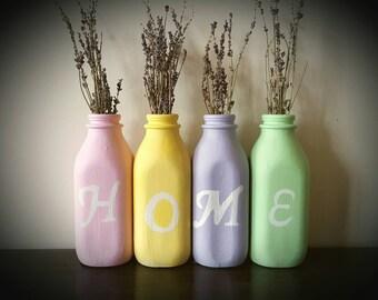 Glass milk bottles,Home decor,Home,Milk bottles,vases