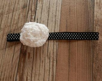 Girl's White Rosette on Black with White Polka Dots Headband