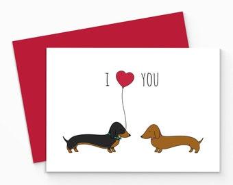 Dachshund Valentines Card. Printable Sausage Dog Love Card. Printable Valentine Card. Animal Greeting Card.Dachshund Love Card, printable.