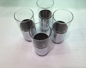 Chrome cork and glass tumblers mid century