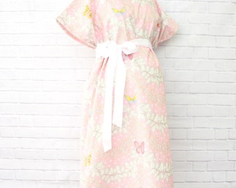 15% OFF SALE ITEM |Brooklyn's Butterfly | Pink and Ivory Maternity Hospital Gown | Labor & Delivery Gown