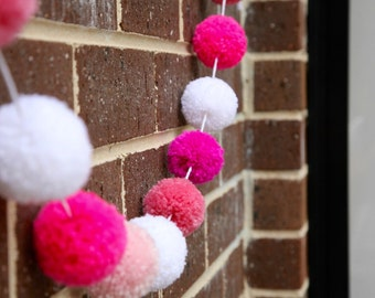 CUSTOM Pompom Bunting (please write all the colours of your choice when ordering)